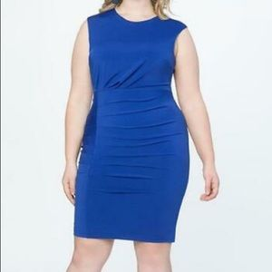 Eloquii plus blue stretchy gathered dress NEW